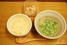 納豆粥、豆腐とほうれん草、マグロ