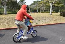 この二人乗り自転車、車輪が小さくて漕ぐの辛い。